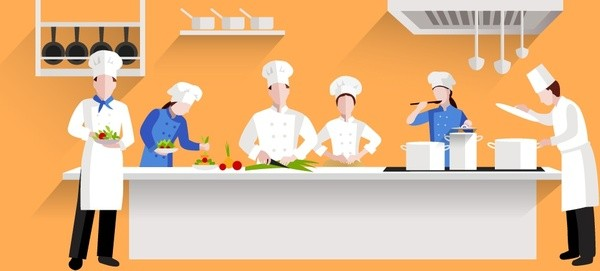 Restaurants Kitchen Activities Design With Chef And Cooks 6825479