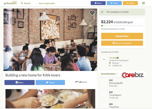 Đặt mục tiêu gọi 200.000 USD để mở lại The KAfe, sau 1 tháng Đào Chi Anh mới nhận về 1% con số đề ra FnB Việt Nam