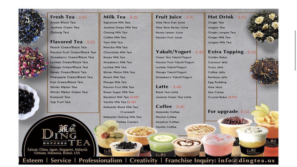 menu quán trà sữa