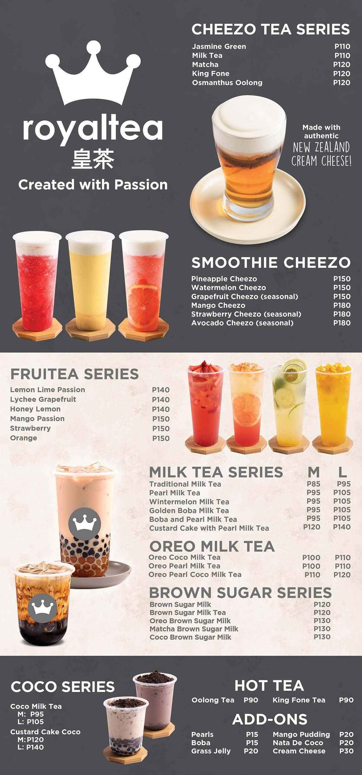 menu quán trà sữa bắt mắt