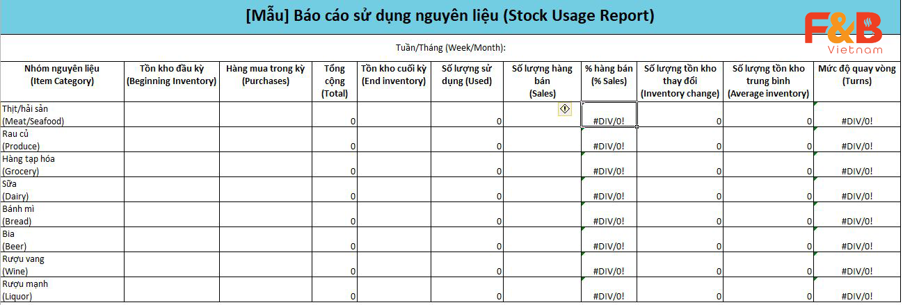Mẫu Excel kiểm kê kho dành cho nhà hàng/quán ăn & Mẹo quản lý kho hiệu quả FnB Việt Nam