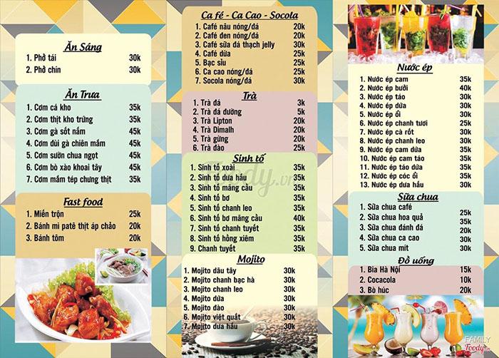 Menu Bao Gồm Các Món Ăn Và Đồ Uống