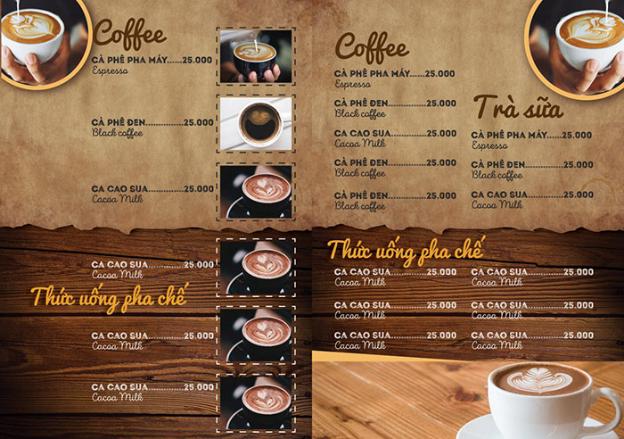 Hình minh họa menu đồ uống