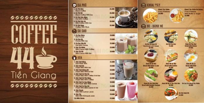 Menu quán cafe ăn sáng