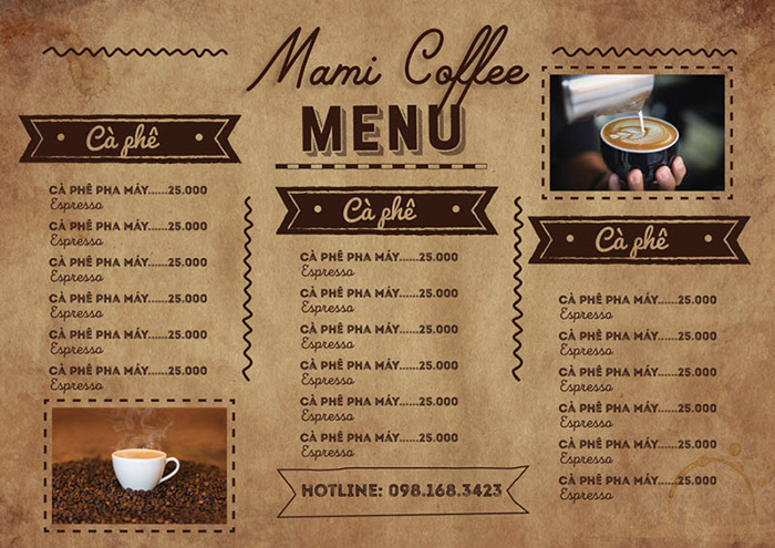 Thiêt Kê Menu Mở Quán Cafe